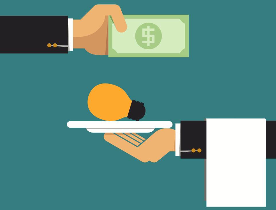 Cartoon hands holding a dollar and light bulb - Upstart Personal Loans