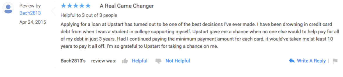 Upstart credit karma reviews
