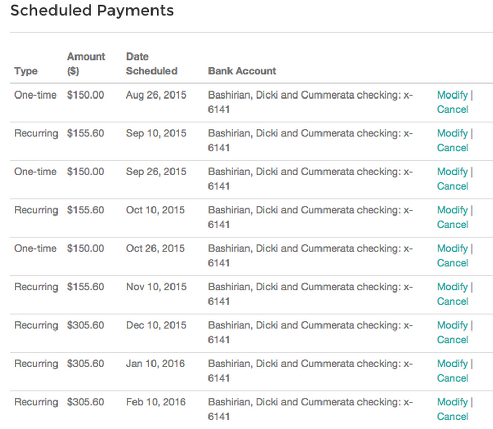 Upstart schedule payments