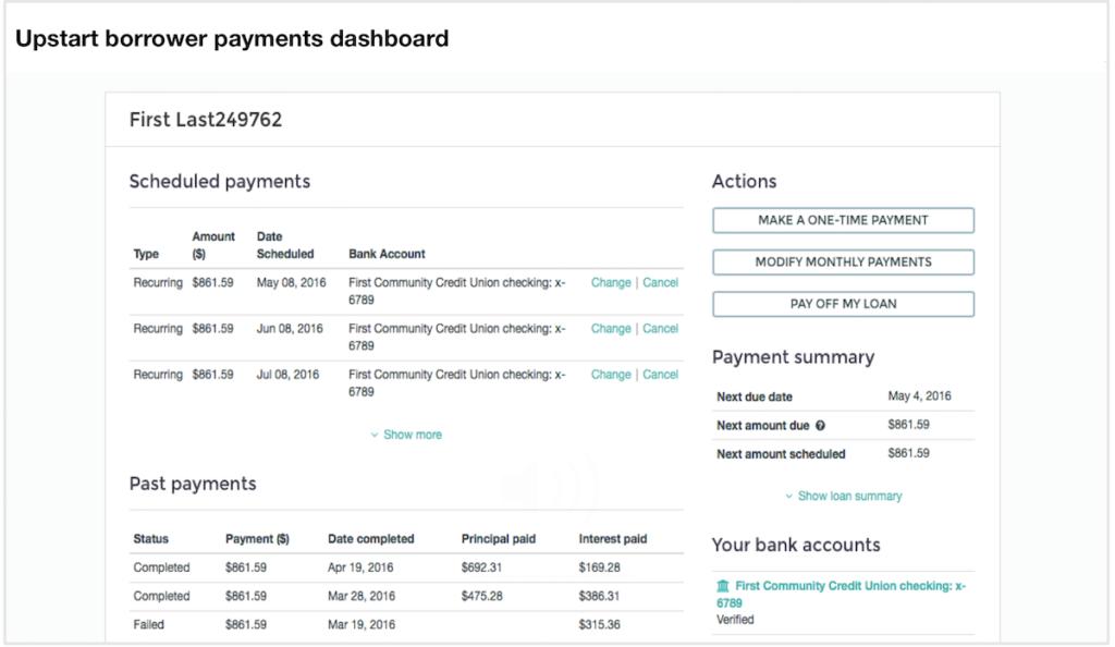 Upstart online loans borrower dash