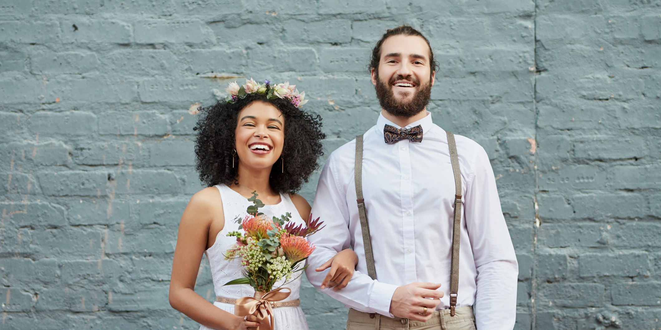 Newly Married Couple Smiling - Upstart Personal Loans